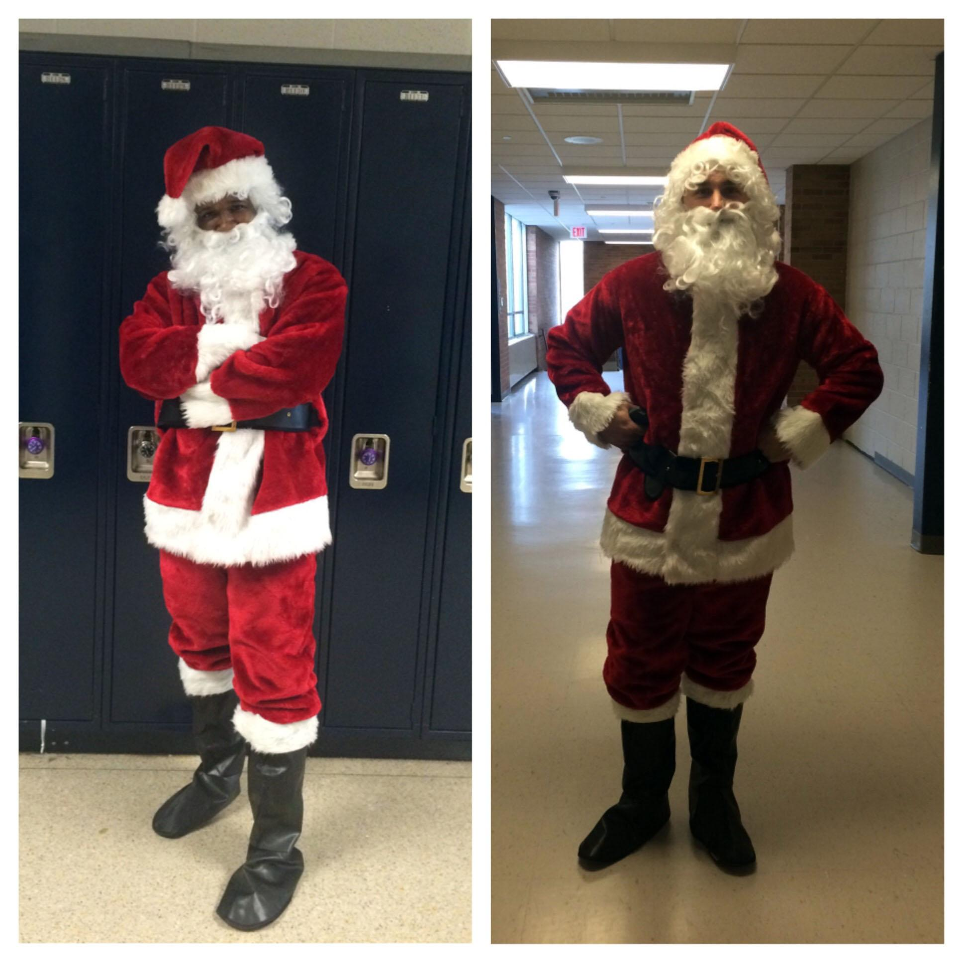 Which Santa wears the suit better? Vote in the poll located on our home page. LaRon Fields is on the left; Richard Crist is on the right.