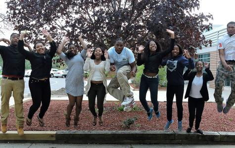 Jump for joy: Soon-to-be graduates from the Class of 2015 jump for joy outside Southfield High School. Pictured are (from left) Aaron Cooper, Ivory Bolding, Jala Humphrey, Zikol Pitts-Beeman, Devin Davis, Tazjanae Bryant, Taylor Winslow, Kyra McGhee and Jaivone Carter