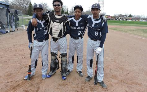 Four freshmen are starters for the Varsity Baseball team. They are (from left to right) second baseman and short stop Aaron Parker, catcher Jaycen Lipsey, pitcher Matt Osborne and short stop / left fielder John Darby.