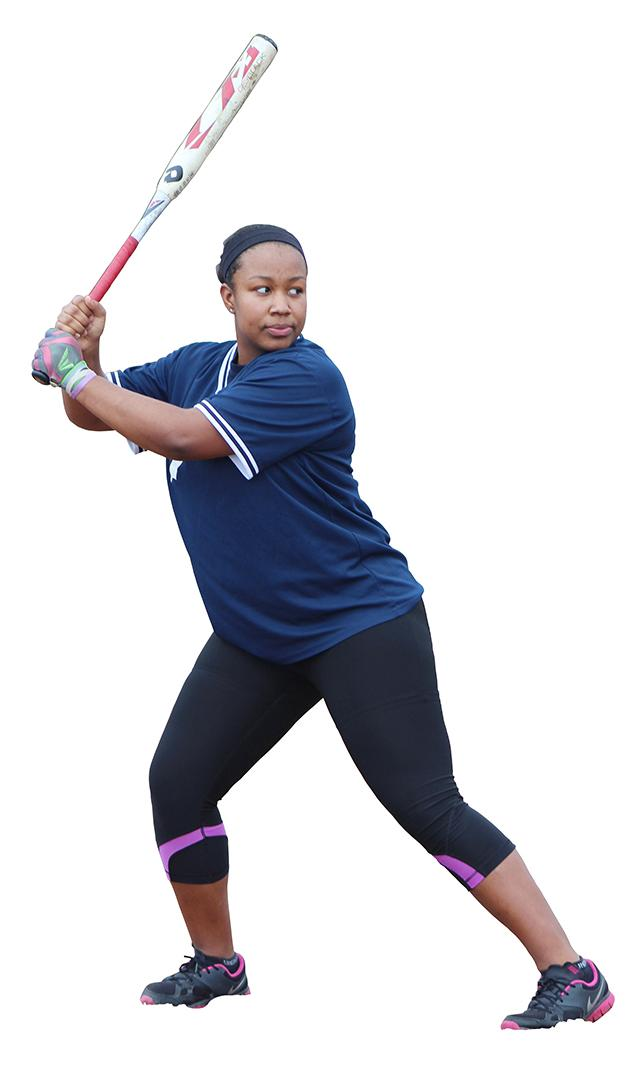 Softball Team Captain KaBria Arnold takes batting practice seriously. Arnold is a senior this year.