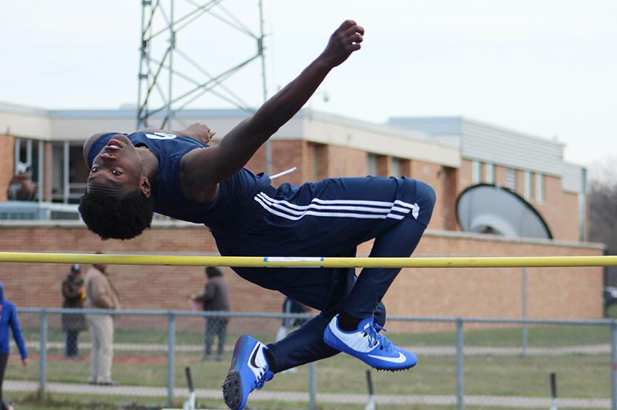 Southfield High junior Marzell Patterson competes in the high jump. In boys track, Southfield High School easily dominated Southfield-Lathrup i their last matchup, 82-51.