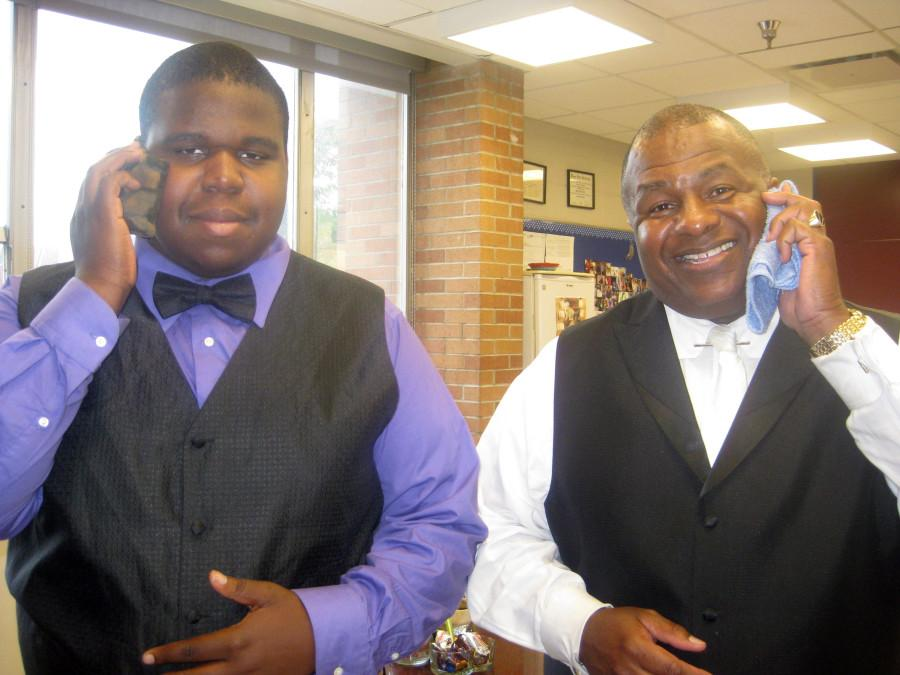 Look-alikes: Senior Kenneth Warrior (left) and Principal Michael Horn (right) were dressed alike on Tuesday. It was part of