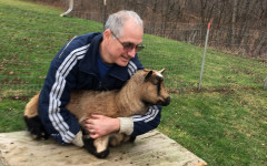Science teacher Fred Pellerito has two cats, three goats and two dogs. Pictured is goat Penelope.