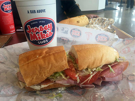 Bite Me: Plan to spend about $10 for a regular 7-inch Italian submarine sandwich and a soda drink at Jersey Mike's Subs in Lathrup Village. Their sub choices come in hot and cold selections.