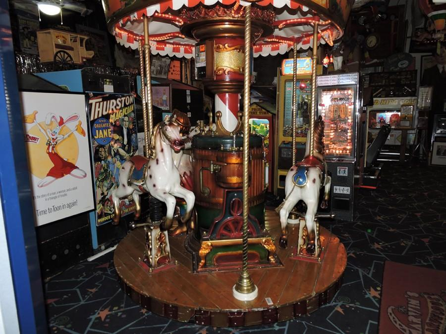 Among all the coin machines is an antique miniature carousel.  Museum owner Marvin Yagoda has been collecting antiques coin machines since the 1960s.