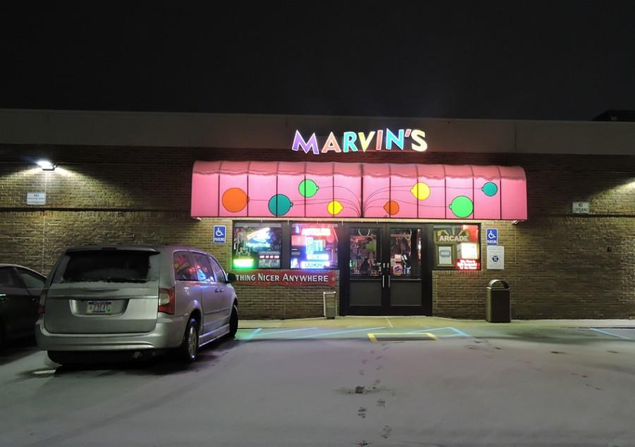 The entrance to Marvin's is behind the California Pizza Kitchen restaurant.