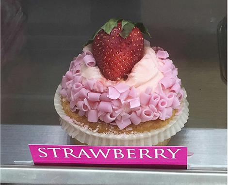 The organic strawberry cupcake at Piece of Cake cafe in Southfield comes in two sizes: extra large and regular.