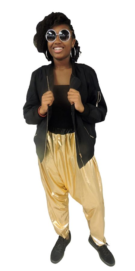 Hammer time :Junior Asia Monette dresses as MC Hammer for '90s Day during Sprit Week. Spirit Week was five days of themed dress days preceding the Homecoming Game.